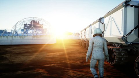 Astronaut and rover on alien planet. Martian on mars. Sci -fi concept. Realistic 4k animation.