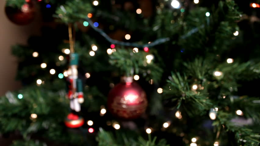 dolly motion moves up to christmas tree hd stock video clip - Christmas Twinkle Lights