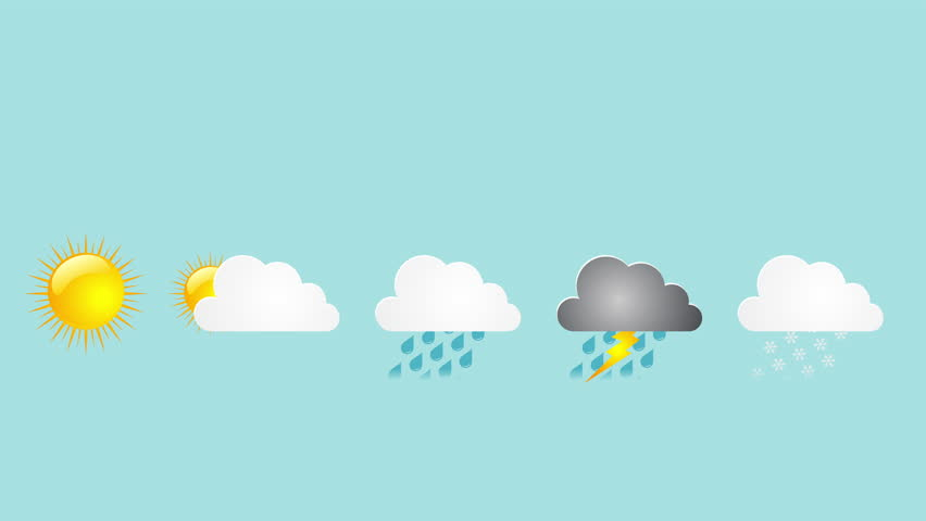 set of 7 animated weather icons sunny thunderstorm