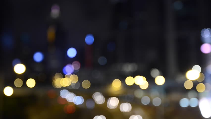 Defocused night traffic lights,bokeh light in hong kong city | Shutterstock HD Video #22624051