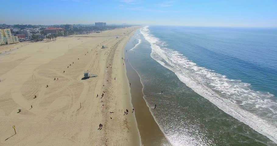 Aerial  view of Santa Monica Beach in Los Angeles, California, 4K