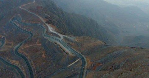 Twisty Tirvy Roads above Mt Jabal al Jais