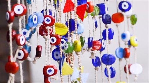 Hanging evil eye bead - nazar amulet -  in Turkey.