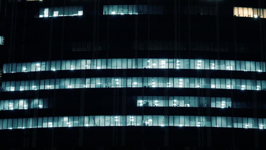 Skyscraper office building with glowing windows  | Shutterstock HD Video #22728631