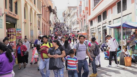 People walking in Shopping street in Quito Ecuador. Aug 28th, 2016