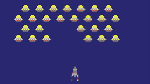 Space arcade video game animation concept. Pixel art style ufos and spaceship cartoon HD motion design.