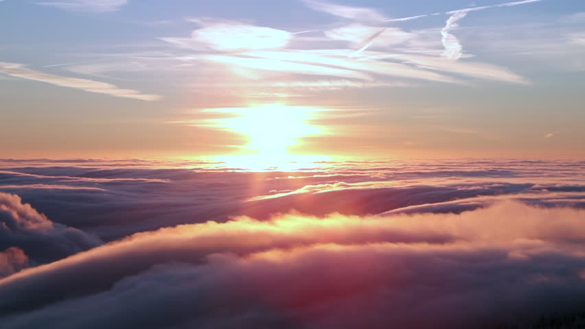 Beautiful sunrise above clouds in time lapse #22816021