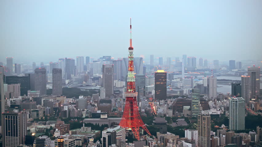 Tokyo, Japan - September 17, 2016: Skyline with the Tokyo tower. Tokyo tower is a communications and observation tower located in the Shiba-koen district | Shutterstock HD Video #22839121