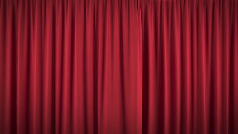 Beautiful opening and closing red curtain, with alpha mask, ready for compositing (4k, 3840x2160, ultra high definition) high detailed cloth