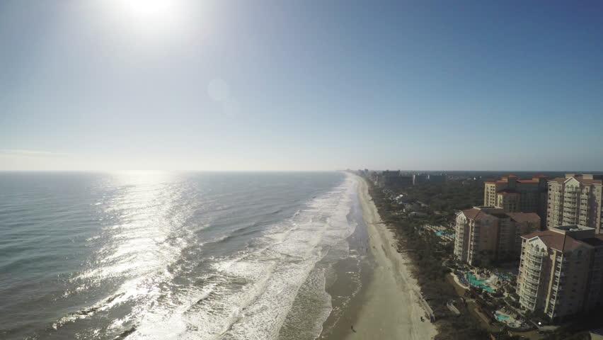 Aerial Myrtle Beach Hotel Resorts Atlantic Ocean Blue Skies Sun, 4K
