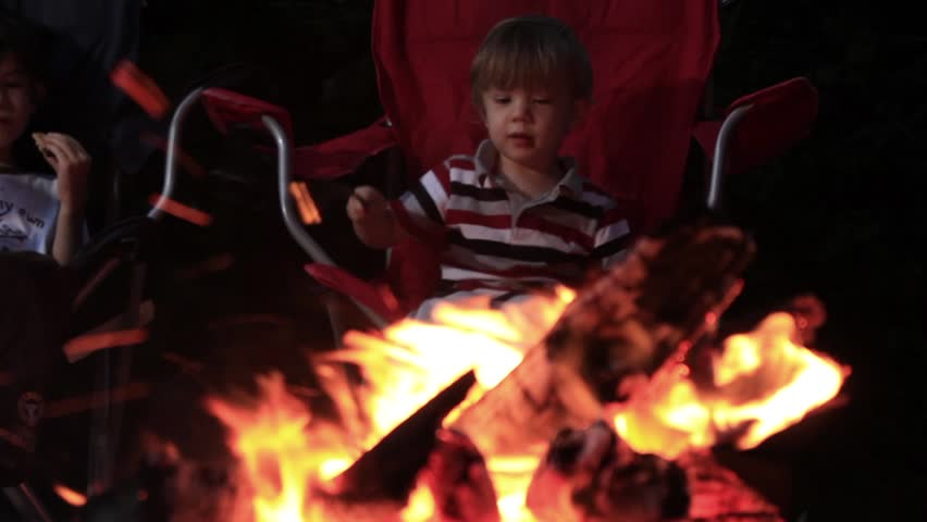 Two kids boys sitting roasting marshmallows at campfire