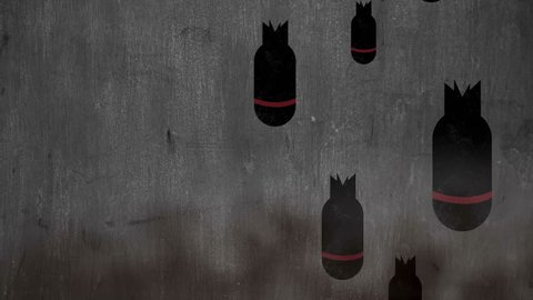 Dropping bombs over smoky background with space for your logo or text seamless loop, Animation of war torpedo background, Stop War Concept.