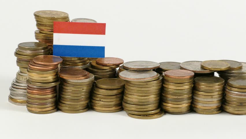 Netherlands flag waving with stack of money coins | Shutterstock HD Video #22949161