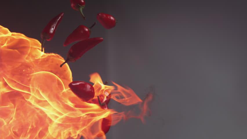 Flames and jalapeno peppers in super slow motion, shot on Phantom Flex 4K