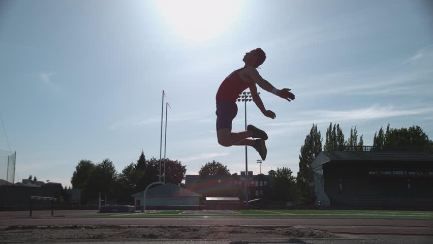 Track athlete doing long jump in super slow motion, shot on Phantom Flex 4K.