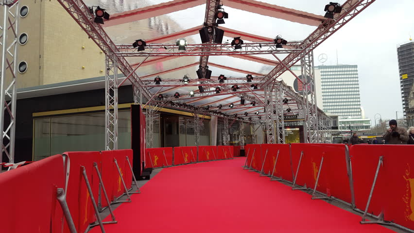 GERMANY - CIRCA FEBRUARY 2016 - Empty red carpet, Berlinale film festival, entrance Zoo Palast theatre, Berlin