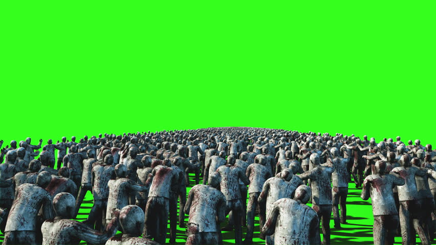 A large crowd of zombies. Apocalypse, halloween concept. 4K green screen animation.   Shutterstock HD Video #23092141