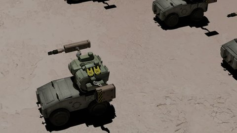 Robotic tanks, or mechs going through desert