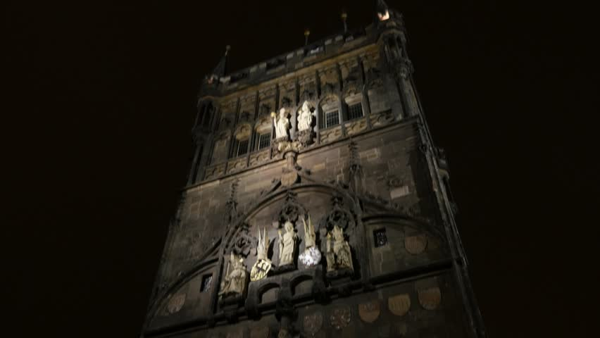 Tilting On Old Town Gothic Tower In Czechia City Of Prague