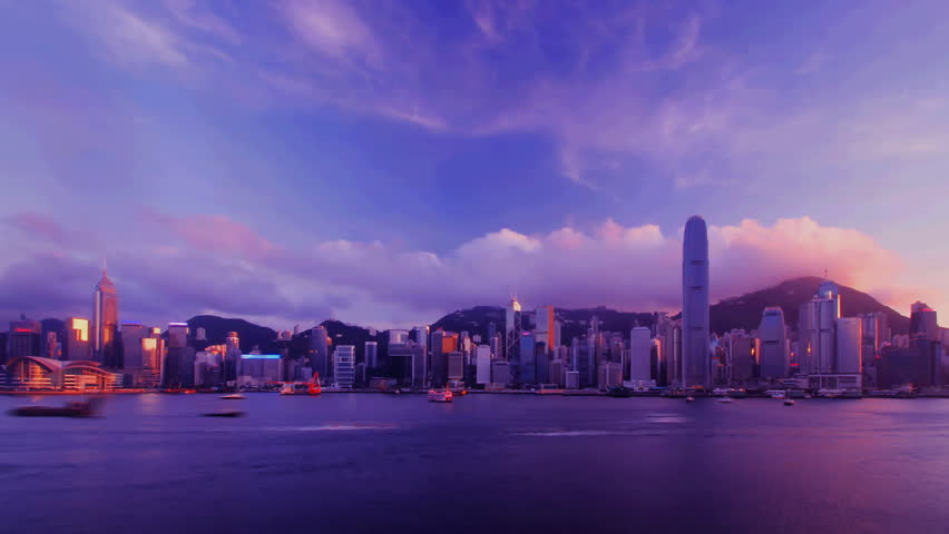 Time-lapse - Hong Kong Harbour sunset