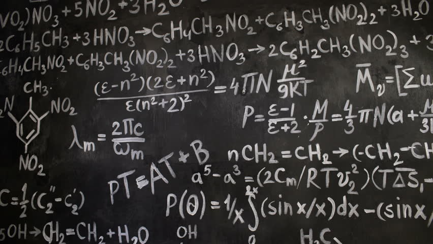 Chemical and mathematical equations wall room background