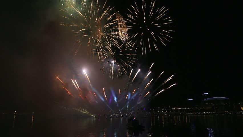 High definition movie of New Year's Eve festive firework show celebration at night in Singapore 1080p hd