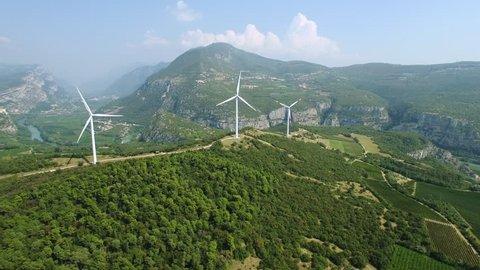 Aerial view of wind power generators in Italy