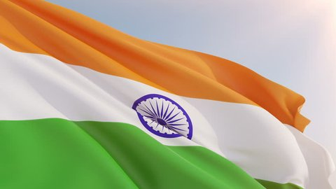 Photorealistic animation of the National Flag of India waving on the wind. Seamless Loop. 4K, Ultra HD resolution. Another flags available - check my profile.