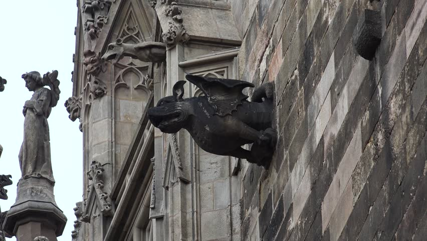 Gargoyle On Gothic Cathedral In Barcelona Spain Shot 4K Ultra High