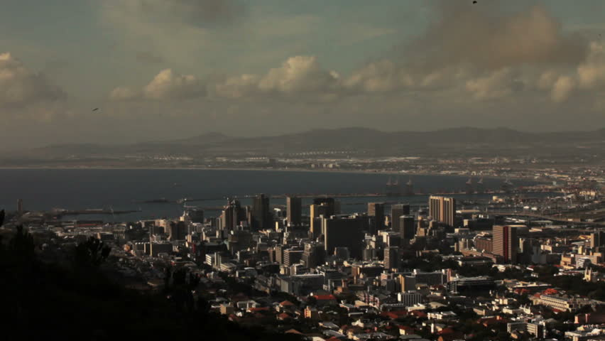 A time lapse over downtown Cape Town, South Africa, from an elevated view.