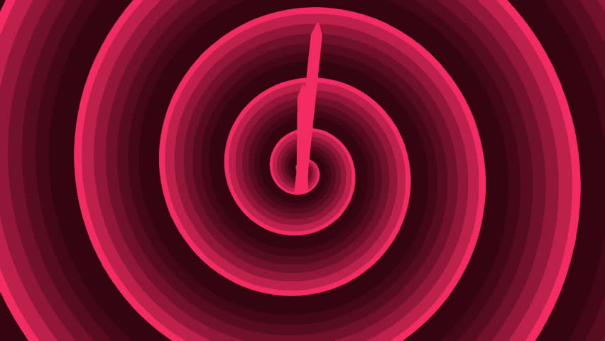 Motion background with spinning clock and running spiral in 12 hour seamless loop. (UHD 3840x2160 24s/30fps)