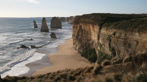 afternoon view of the high cliffs at the twelve apostles in port campbell national park on the great ocean road in victoria, australia