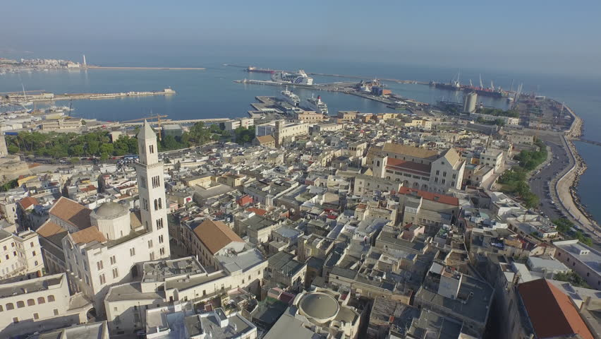 Flying over the old city 8 Drone of the Apulian town, Bari