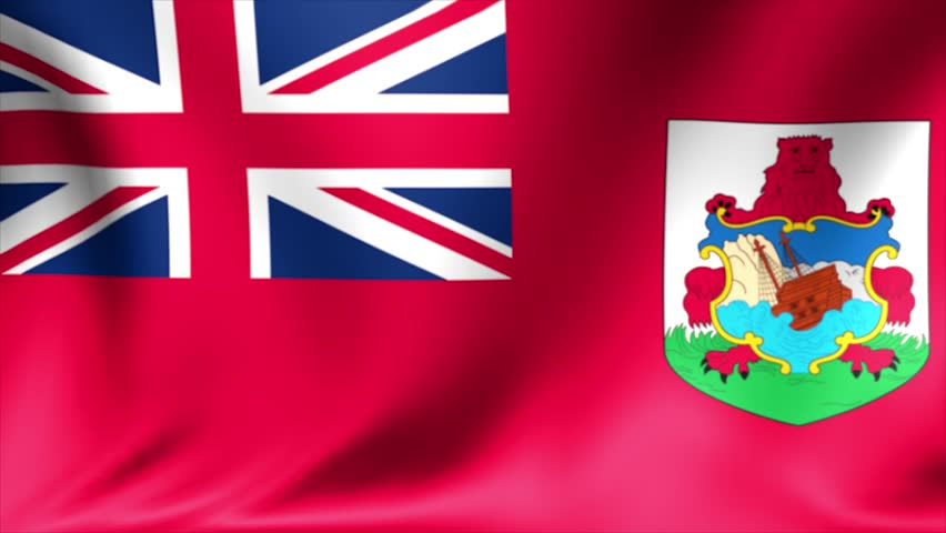 Bermuda flag, Bermuda Islands flag, Bermudas flag, flag. Background Seamless Looping Animation. 4K High Definition Video.