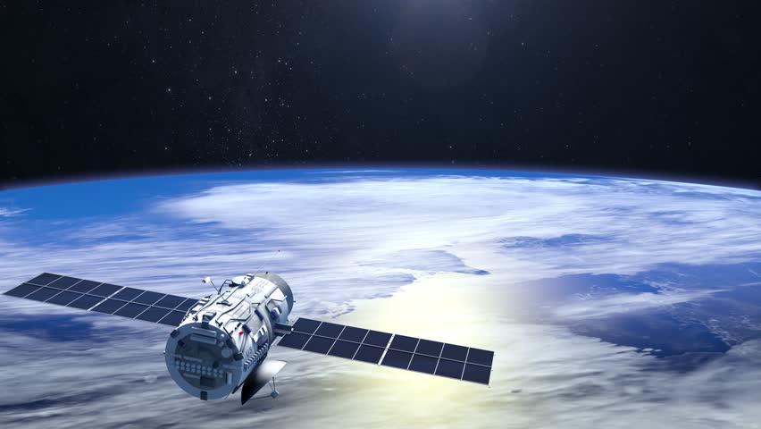 Flying satellite. Tthe satellite flies faraway from camera. 4K. NASA. | Shutterstock HD Video #23348281