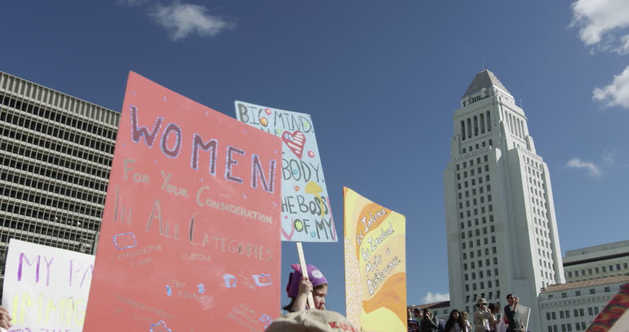 Women's March in Los Angeles, California. Over 500,000 people gathered in downtown Los Angeles. January 21, 2017 | Shutterstock HD Video #23349601