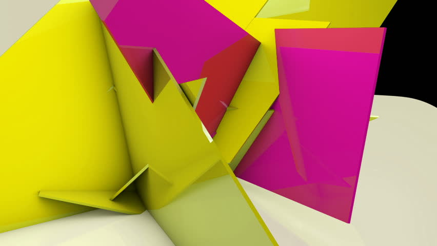 Abstract background with copyspace. Animated 3d geometric wall transformation, yellow and purple color triangle shapes motion and intersection
