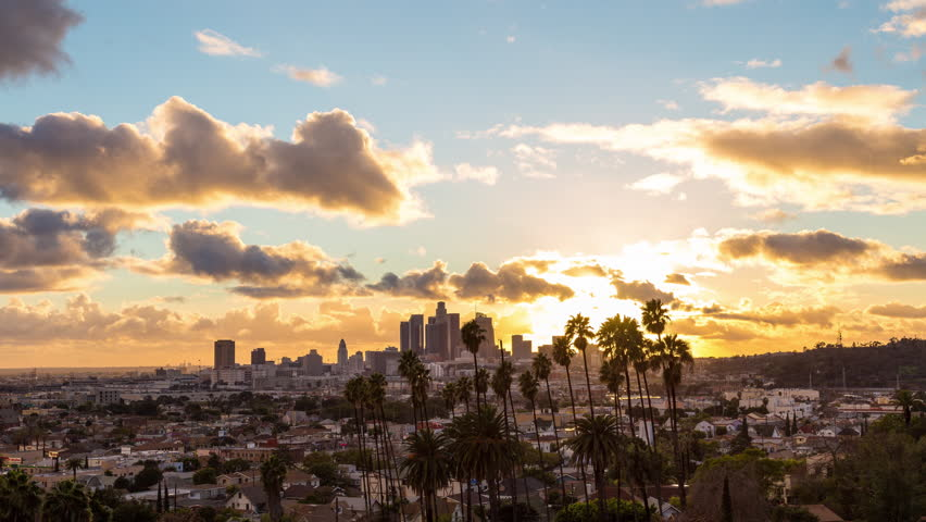 Los Angeles and Palm Trees Beautiful and Colorful Day To Night Sunset Timelapse