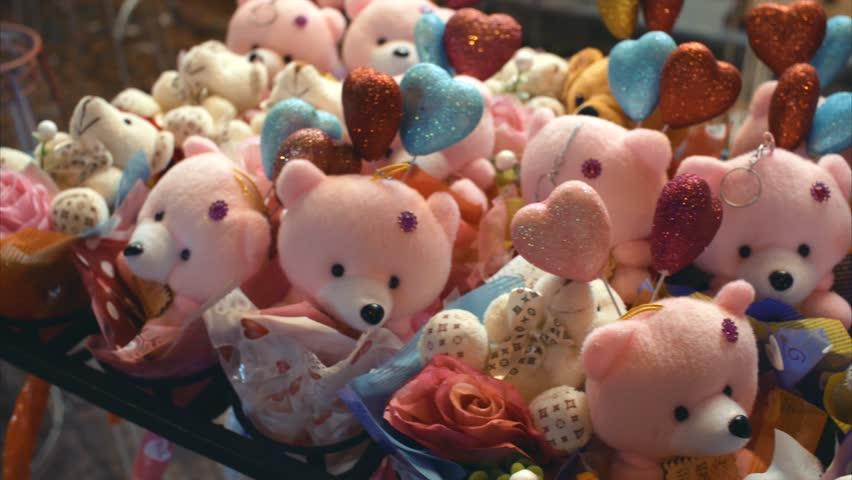 Plush bears for sale at night market. Kuala Lumpur, Malaysia. | Shutterstock HD Video #23453212