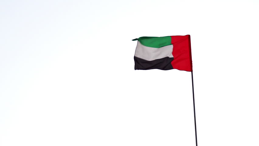 United Arab Emirates national flag . with its single vertical red bar and its green. white and black horizontal bars. flapping in the wind.