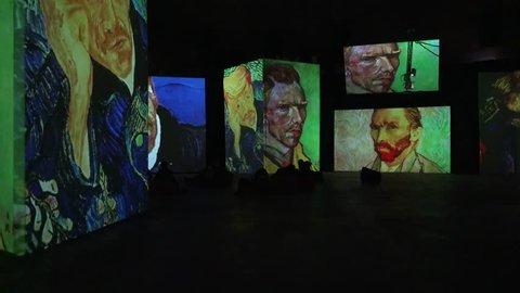 SAINT-PETERSBURG, RUSSIA - WINTER 2017: Interactive exhibition of Van Gogh paintings. Shot in 4K (ultra-high definition (UHD)).