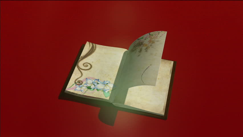 old book with turning pages,,flying butterflies on background and alpha channel