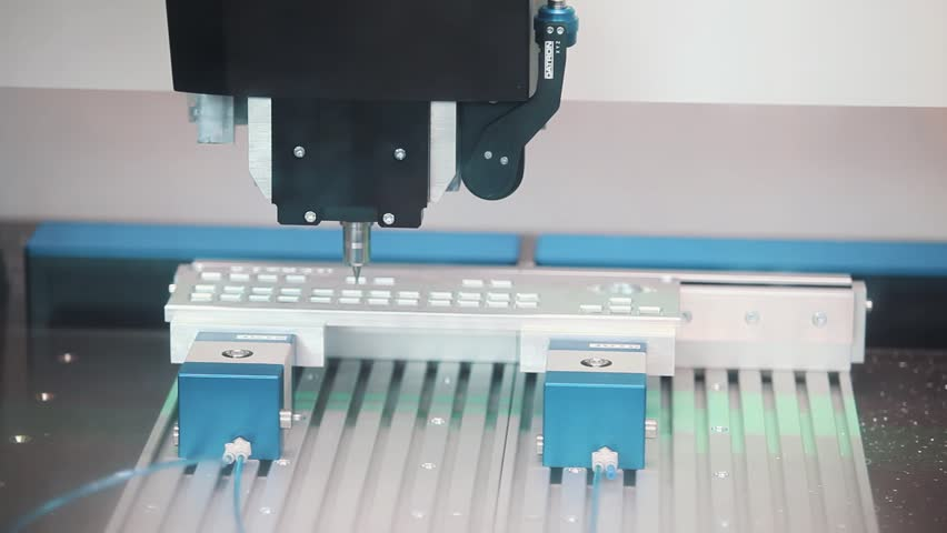 Precise automatic machine cut steel mold of keyboard at exhibition, close up #23504041