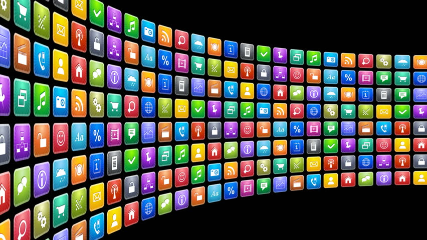 Mobile applications concept: endless moving row of colorful app icons on black background