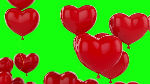 Floating red hearts on green background animation for Valentine's day
