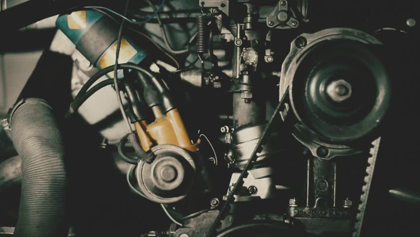Interio visual of a vintage Volkswagen t2 motor, hippie bus, 70's