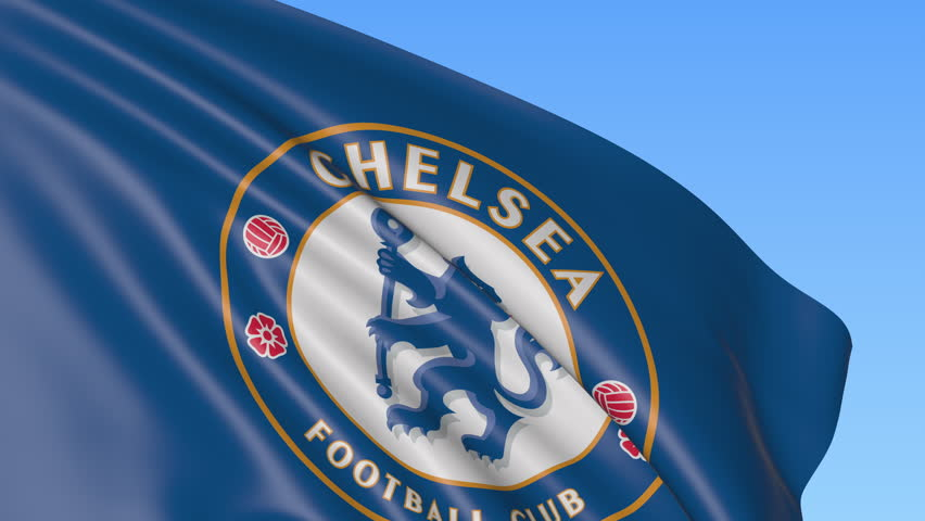 0088b7a3c7ab92 Close-up of waving flag with Chelsea F.C. football club logo, seamless  loop, blue background. Editorial animation. 4K