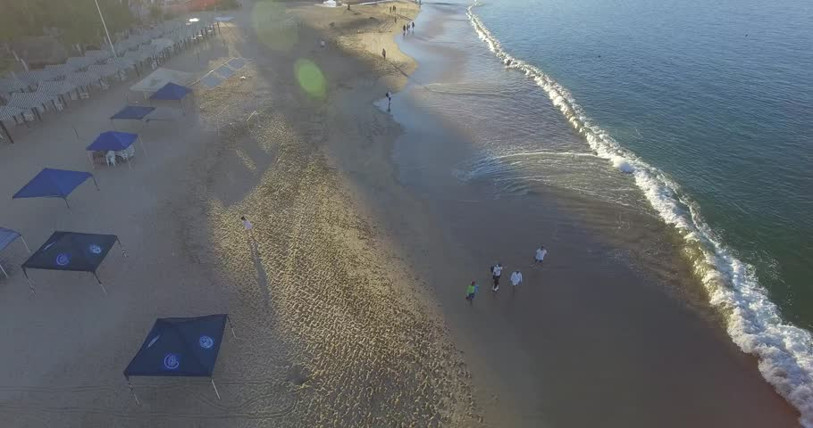 Aerial video of an early sunrise in Acapulco, Mexico near the hotel area