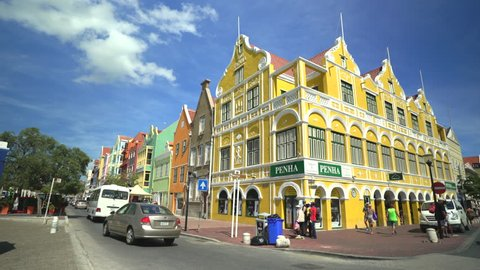 Caribbean city scape. Colourful buildings - October 2016. Willemstad downtown, Curacao