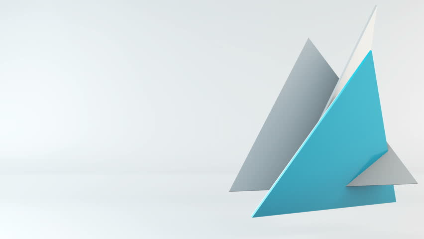 Animated 3d pyramid transformation, color triangle shapes flying on light backdrop with reflections. Motion abstract background with copyspace